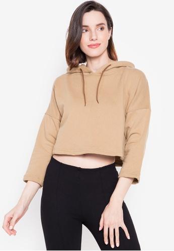 Courier beige Ladies Crop Hoodie Fleece Jacket 673F1AA52079C5GS_1