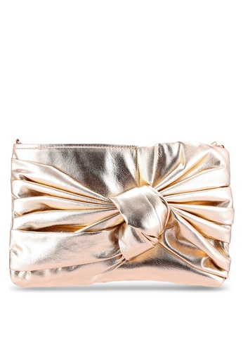 Velvet gold Bow Front Clutch Bag B40D0ZZ0095C6BGS_1