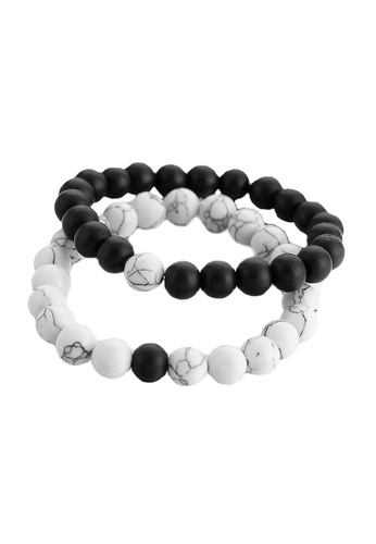 Elfi Elfi Twin Black & White Unisex Fashion Beads Bracelet 63046ACB28B81EGS_1