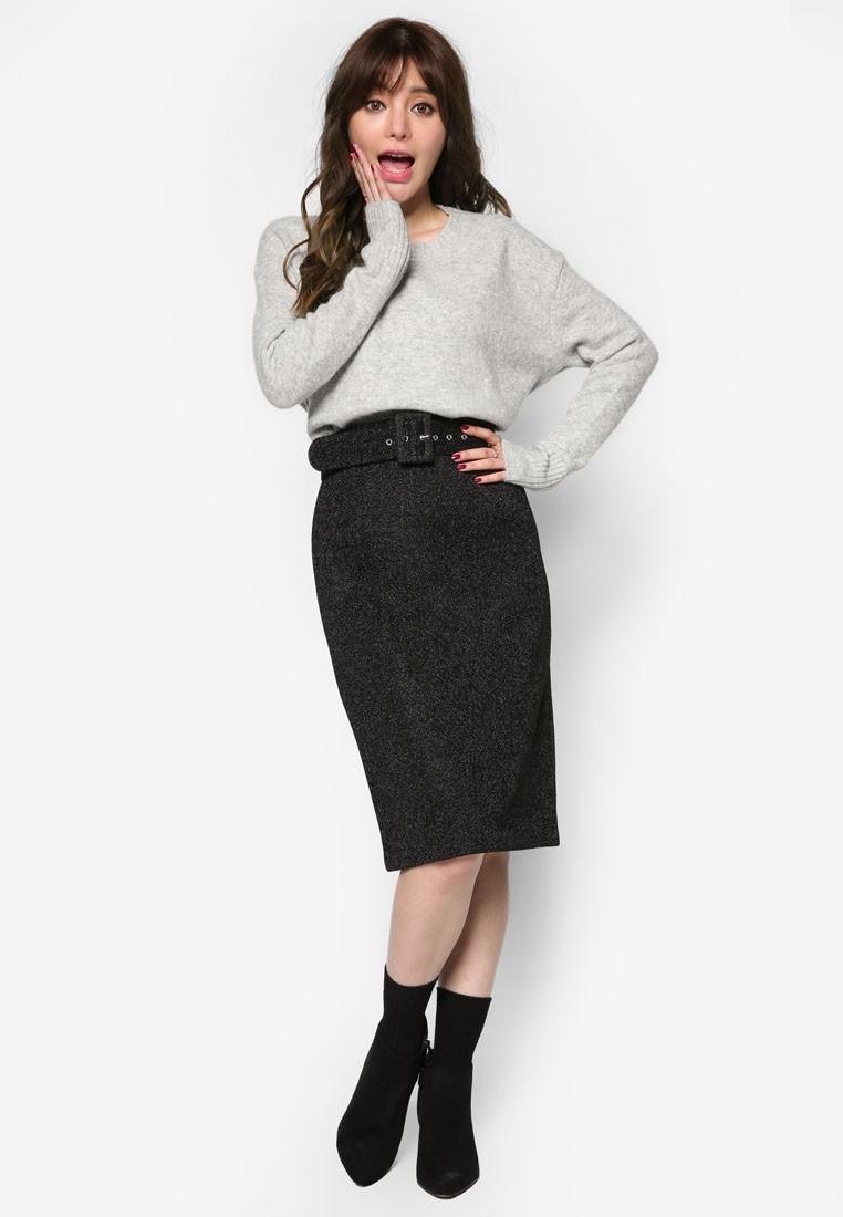 Korean Style Belted Midi Skirt