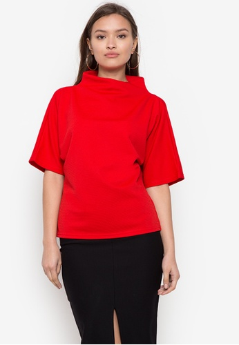 CIGNAL red Funnel Neck Blouse D724CAA8391A73GS_1