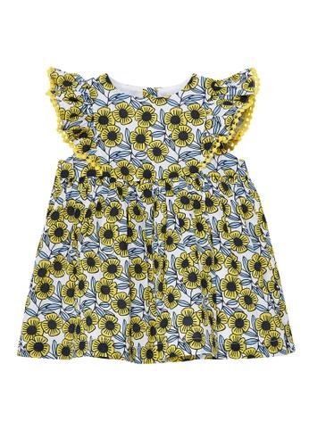 Du Pareil Au Même (DPAM) white and yellow Sunflower Dress B4125KA6589F50GS_1