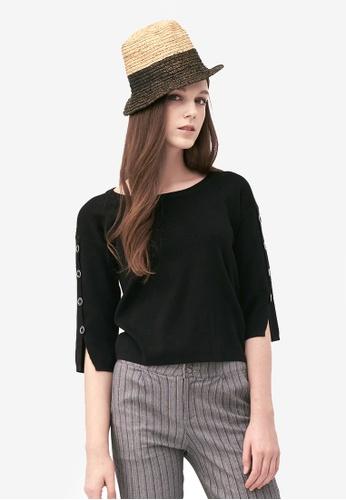 Kodz black Buttoned Sleeves Basic Top 08CBDAA7AD749BGS_1