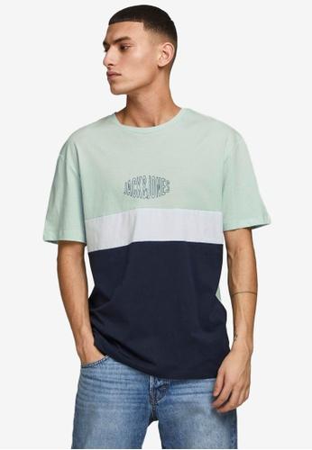 Jack & Jones blue Color Block T-Shirt E628AAA39CA513GS_1