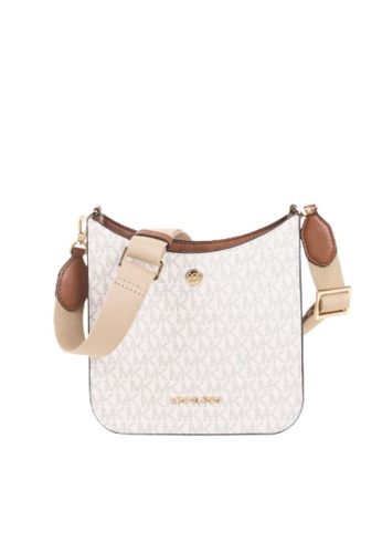 MICHAEL KORS white Michael Kors Small Briley 35S1G7BM1B Monogram Messenger Bag In Vanilla FAC42AC4450373GS_1