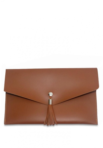 Louiebelle Collection brown Sophia Clutch LO122AC0K97SPH_1