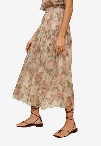 Mango beige Floral Midi Skirt 40686AA0B41F15GS_1