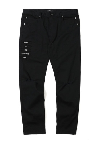 Fivecm black Slogan patch straight fit pants AD771AAE8248B6GS_1