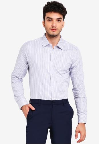 Burton Menswear London 藍色 長袖條紋襯衫 0F5FAAA01D7973GS_1