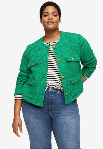 Violeta by MANGO green Plus Size Pocket Tweed Jacket 69E9DAA5282F38GS_1