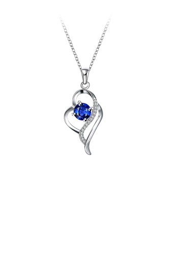 Glamorousky blue Elegant and Fashion Heart Pendant with Blue Cubic Zircon and Necklace E8ADFACCD86319GS_1
