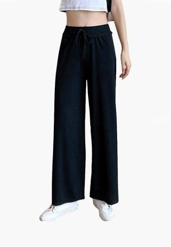 Twenty Eight Shoes black VANSA Ice Silk Knitted Wide-leg Pants VCW-P0066 46B46AA29B6242GS_1