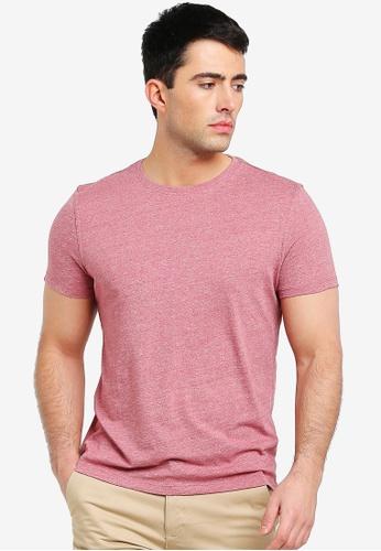 OVS 紅色 亞麻混色T恤 EF496AA3CBCB53GS_1