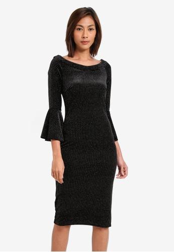 Goddiva black Glitter Velvet Midi Dress With Bell Sleeves GO975AA0SSC9MY_1