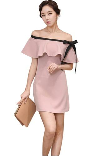 Sunnydaysweety pink New Pink Off Shoulder Flounce One Piece Dress A051630-0 60E9DAAB592E99GS_1