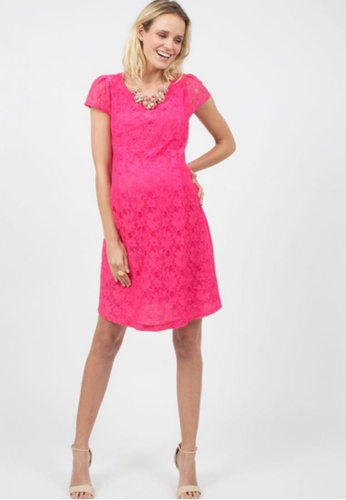 spring maternity woven short sleeved aida lace maternity dress pink