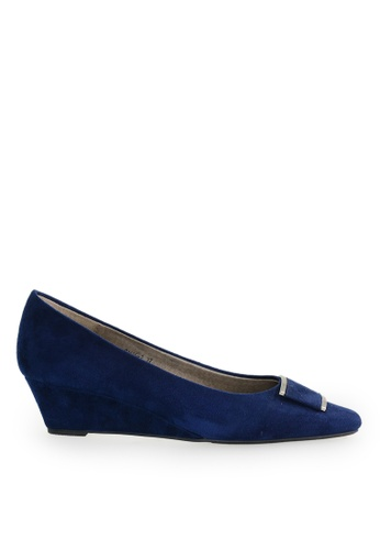 Footspot blue FOOTSPOT - Pointed Toe Wedge Shoes with Buckle 64413SHF00EF8EGS_1