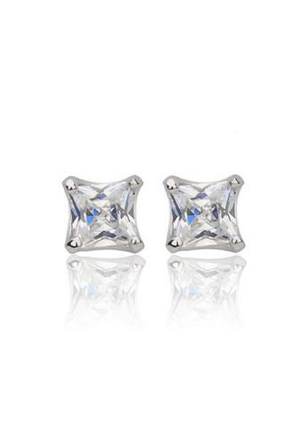 Vivere Rosse silver Princess Cut Diamond Simulant Stud Earrings - 18K White Gold Plated VI014AC08ZVFMY_1