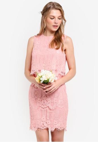 ZALORA pink Bridesmaid Double Layer Lace Dress 9E809AA71F5537GS_1