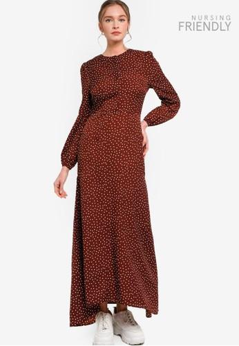 Lubna white and brown Polka Dot Dress 1EC09AAEF20E9DGS_1