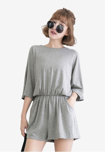 Tokichoi grey Slit Cutout Tie Back Romper 9830EAA7FEF61AGS_1