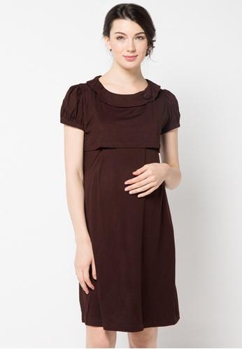Chantilly brown Maternity / Nursing Rachelle Dress 75EC5AA86B5F86GS_1