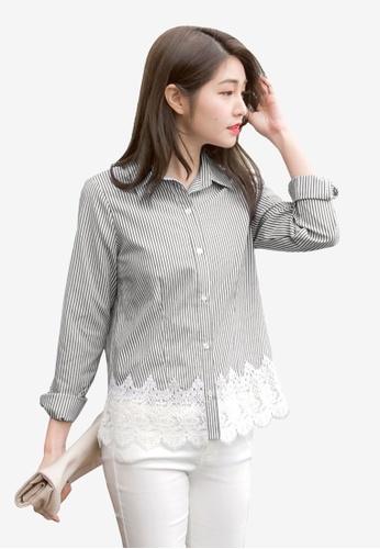 Tokichoi black Striped Shirt With Lacy Hem DA432AA8A9CCAAGS_1