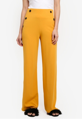 Miss Selfridge yellow Ochre Button Floral Trousers 593AEAA39E689CGS_1