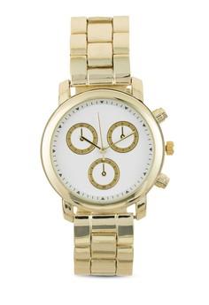 【ZALORA】 多錶盤金屬鍊錶