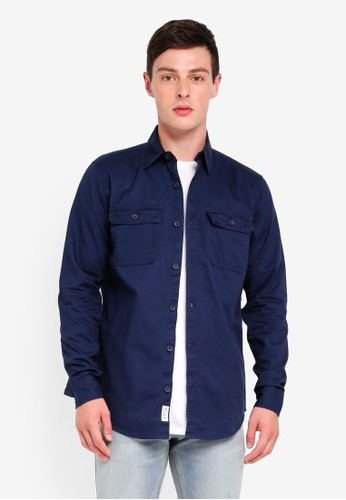 Hollister navy Twill Solid Shirt 76A73AAA577020GS_1