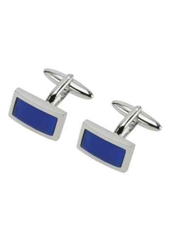 CUFF IT blue Blue Catseye Rectangular Cufflinks CU047AC55SHGHK_1