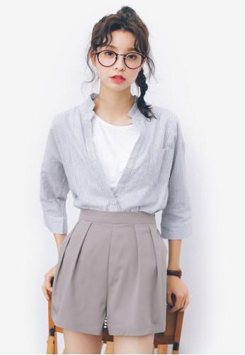 V領五分袖襯衫esprit outlet hong kong, 服飾, 上衣