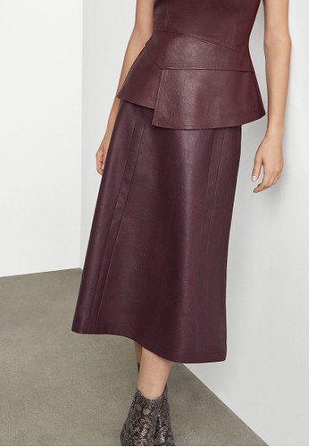 BCBG Max Azria red A-Line Faux Leather Skirt D7C04AA078CDA2GS_1