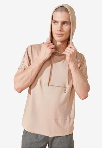 Trendyol beige Short Sleeve Sweatshirt with Front Zip 0AFF1AA865947EGS_1
