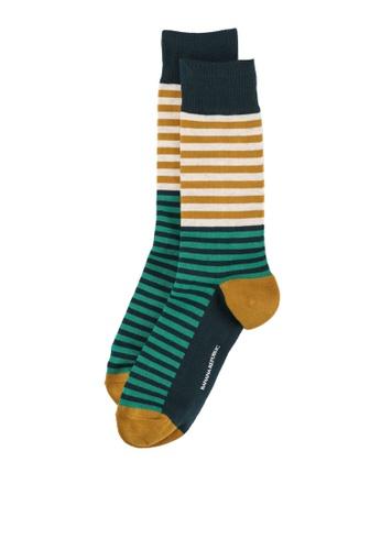 Banana Republic green and gold Diego Stripe Socks E2E16AA90D11C1GS_1