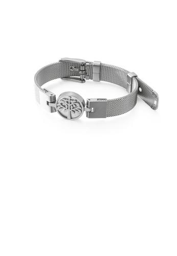 Glamorousky silver Fashion and Elegant Geometric Round Tree Of Life Mesh Belt 316L Stainless Steel Bracelet AE0D1AC7C0B218GS_1