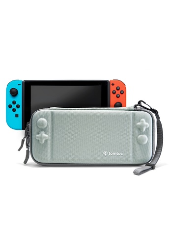 tomtoc grey tomtoc Slim Hard Case Compatible with Nintendo Switch, Original Patent Portable Hardshell Travel Carrying Case, fit Switch Console Cover, 8 Game Cartridges Accessory 358E1ACBE89596GS_1