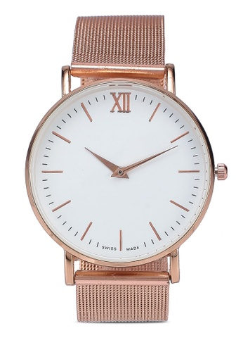 NUVEAU gold Round Face Gold White Mesh Strap Watch 4DF89ACE5B599FGS_1