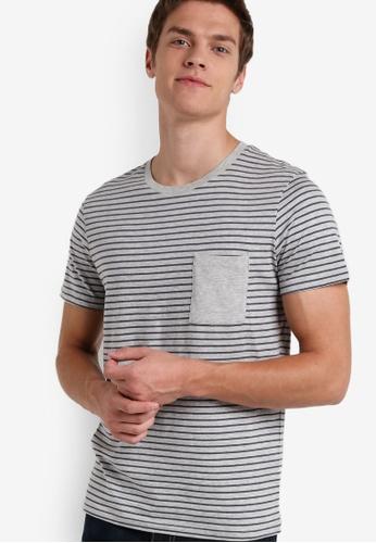 Selected Homme grey Stripe Print Tee SE364AA88QVFMY_1