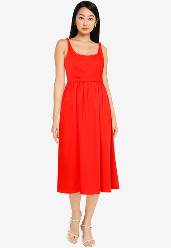 ZALORA BASICS orange Overlap Front Fit & Flare Dress CBCF6AA904E003GS_1
