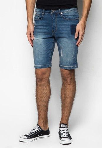 Leftfield 補丁丹寧短esprit台灣網頁褲, 服飾, 短褲