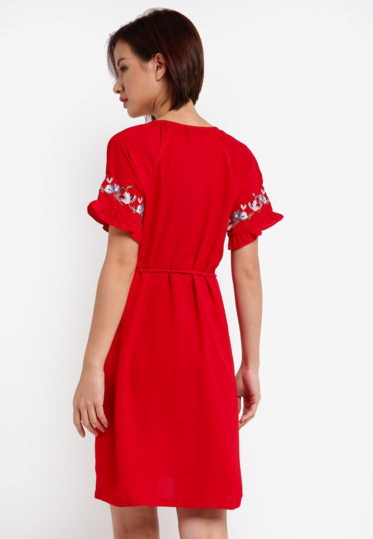 Dress Red Sleeve Embroidered ZALORA Raglan xwEI4Bqf