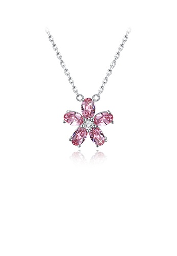 Glamorousky pink 925 Sterling Silver Elegant Flower Pendant with Pink Austrian Element Crystal and Necklace 5D44BAC63F51A4GS_1