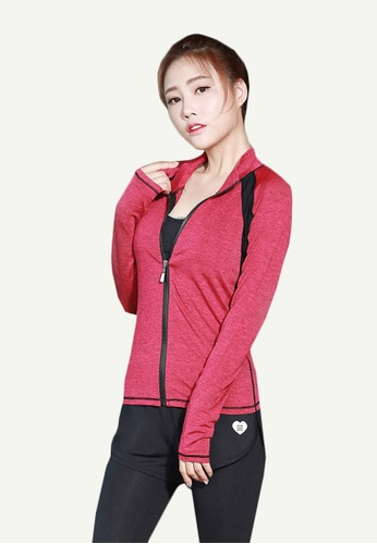 B-Code red ZYG5062-Lady Quick Drying Running Fitness Yoga Sports Bra, Jacket and Leggings Three Pieces Set-Red E1BC3AA31B38B9GS_1