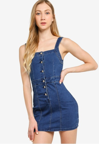 ZALORA YOUNG blue Button Down Fitted Denim Dress CCC0FAAFE40A5DGS_1