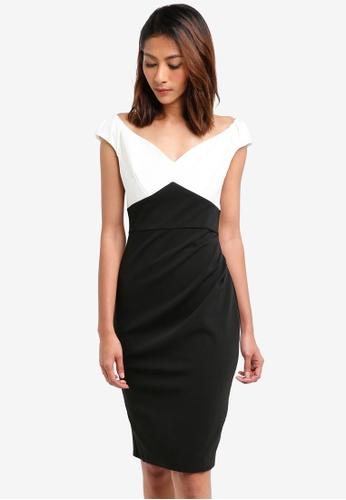 Goddiva black Pleated Contrast Midi Dress 01B04AAFD73710GS_1