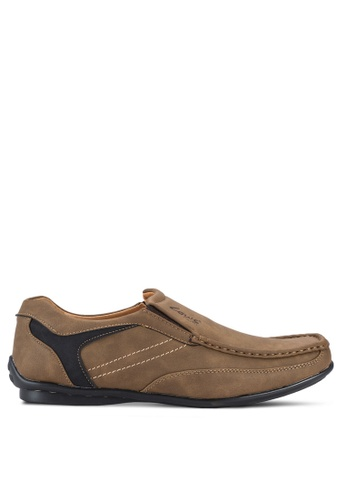 Louis Cuppers brown Stitch Detail Loafers LO977SH51AWIMY_1