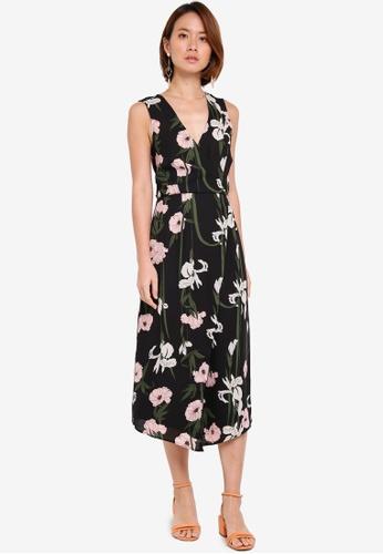 WAREHOUSE black Lily Print Wrap Midi Dress 1786EAAEE65BE6GS_1