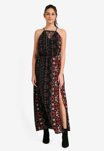 Something Borrowed black Lace Panel Cut-In Maxi Dress 93AF5AA5DB022AGS_1