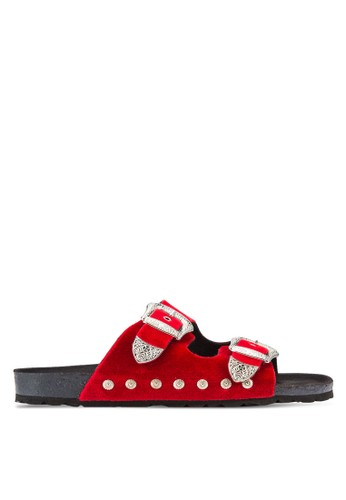TOPSHOP red Falcon Buckle Sliders TO412SH13RVEMY_1